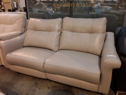 Lot 622 QUALITY BRITISH MANUFACTURED HARDWOOD FRAMED BEIGE LEATHER PWER RECLINING THREE SEATER SOFA