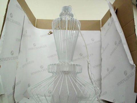 Lot 1 BOXED DESIGNER WHITE COLOUR NET FRAME HANGING CEILING PENDANT LIGHT