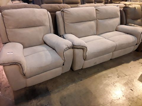 Lot 5058 DESIGNER NATURAL FABRIC WITH BROWN PIPING LOUNGE SUITE, COMPRISING POWER RECLINING EASY CHAIR & MANUAL RECLINING THREE SEATER SOFA
