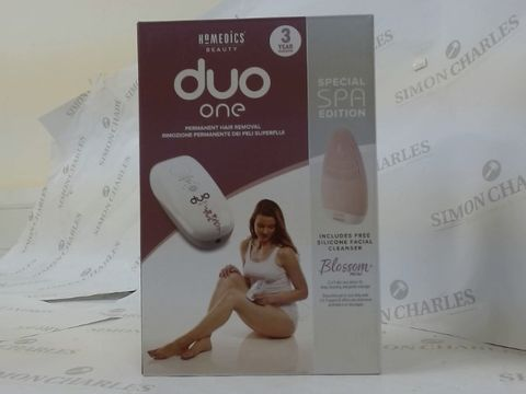 Lot 16326 BOXED HOMEDICS DUO ONE PERMANENT HAIR REMOVAL SYSTEM