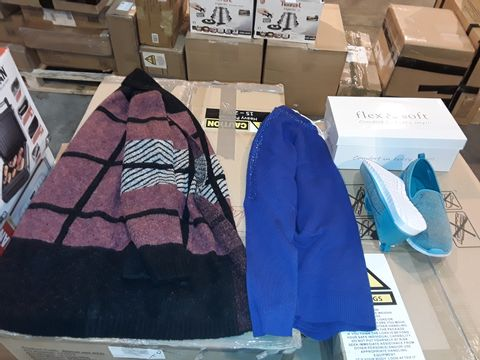 Lot 8226 BOX OF APPROXIMATELY 20 ITEMS OF CLOTHING AND FOOTWEAR TO INCLUDE FLEX AND SOFT TEAL SLIP ON TRAINERS SIZE 5, MUDFLOWER MULTICOLOURED SQUARE PATTERN CARDIGAN AND MUDFLOWER BLUE JEWELLED JUMPER