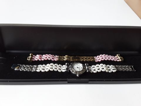 Lot 9210 GLENNI VECCI  QUARTZ WHITE PEARL WATCH WITH PINK PEARL BRACELET