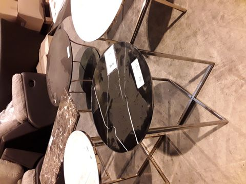 Lot 59 DESIGNER CIRCULAR BLACK MARBLE EFFECT SIDE TABLE