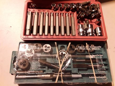 Lot 67 TWO ITEMS, TORX & SOCKET SET & 20 PIECE TAP & DIE SET