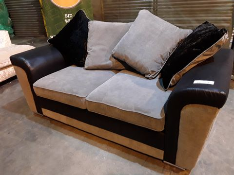 Lot 18 DESIGNER BLACK FAUX LEATHER & GREY FABRIC TWO SEATER SOFA WITH SCATTER CUSHIONS