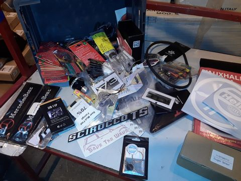 Lot 47 ASSORTED VEHICLE ACCESSORIES INCLUDING, AIR FRESHENERS, HAYNES VECTRA WORKSHOP MANUAL, VINYL STICKERS, 8 BALL GEAR KNOB, ASSORTED BADGES, MERCEDES BELT PADS,