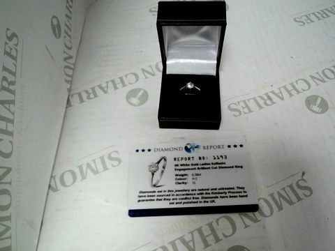 Lot 9021  Carat White Gold 50pt Diamond Certified Solitaire Ring (with certificate)