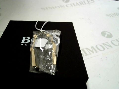 Lot 4015 BOSS SIGNATURE GOLD PLATED LONG STAINLESS STEEL EARRINGS RRP £65.00