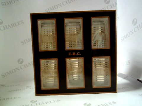 Lot 7532 BOX OF 6 E.B.C GOLD PATTERN CRYSTAL WATER SET