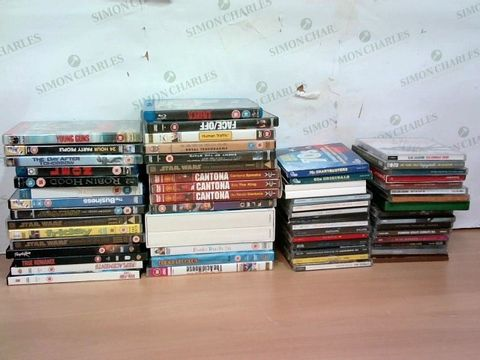 Lot 2254 BOX OF LARGE QUANTITY OF ASSORTED DVDS, BLURAYS & CDS