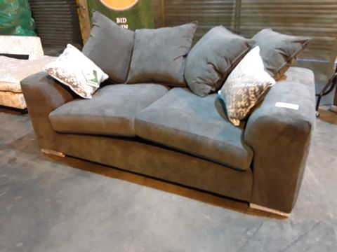 Lot 25 DESIGNER GREY FABRIC TWO SEATER SOFA WITH SCATTER CUSHIONS ON CHROME FEET