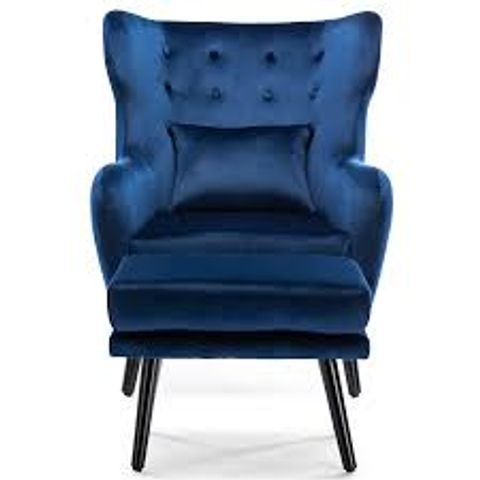 Lot 568 BOXED DESIGNER WINSLOW NAVY VELVET ACCENT CHAIR