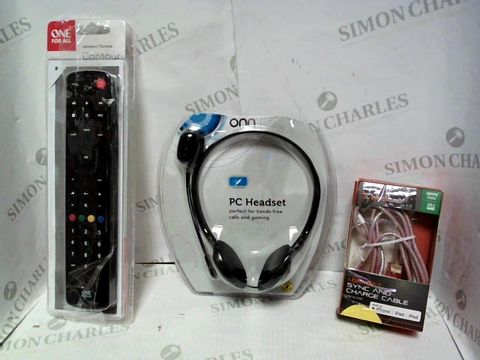 Lot 8133 LOT OF APPROXIMATELY 12 ASSORTED ELECTRICAL ITEMS, TO INCLUDE PHONE CHARGER, PC HEADSET, UNIVERSAL REMOTE CONTROL, ETC
