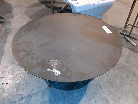 Lot 62 DESIGNER CIRCULAR BROWN OAK COFFEE TABLE