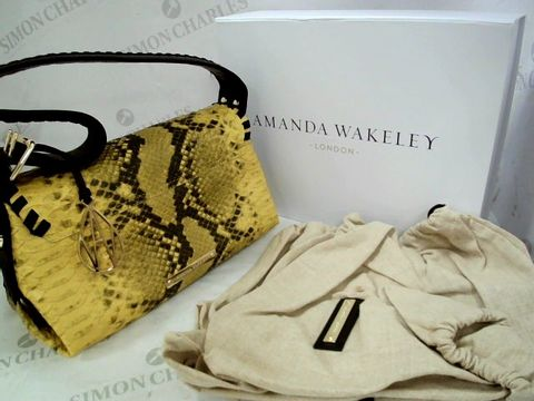 Lot 8321 DESIGNER AMANDA WAKELEY LONDON YELLOW & BLACK CLUTCH BAG WITH DUST COVER & BOX