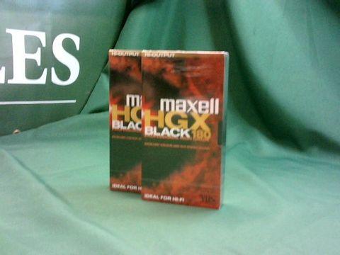 Lot 4137 2 X MAXWELL HI-OUTPUT HGX BLACK 180 VHS TAPES (SEALED)