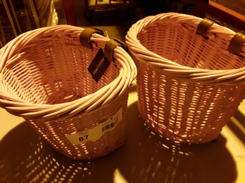 Lot 87 TWO PEDALPRO PINK WICKER CYCLE BASKETS