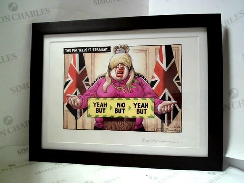 """Lot 1 PETER BROOKES - """"THE PM TELLS IT STRAIGHT"""" FRAMED A3 SIGNED PRINT"""