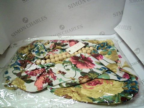 Lot 7618 LOT OF 10 FLORAL PRINT BEAD HANDLE BAGS