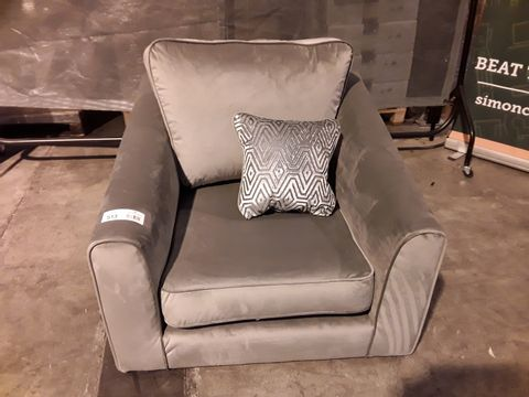 Lot 513 DESIGNER SILVER FABRIC EASY CHAIR