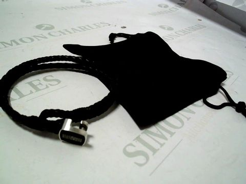 Lot 4160 BOSS SEAL BRAIDED BLACK LEATHER BAND WITH LOGO STAINLESS STEEL CLASP RRP £59.99