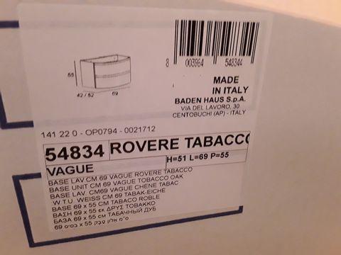 Lot 10633 BOXED DESIGNER VAGUE TOBACCO OAK VANITY BASE UNIT