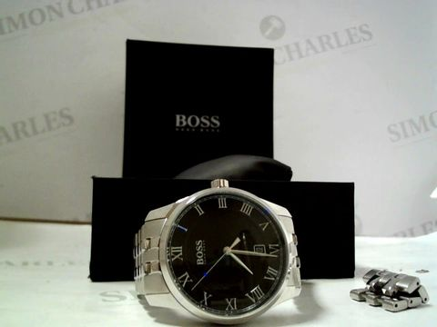 Lot 4001 HUGO BOSS MASTER BLACK DATE DIAL STAINLESS STEEL WRISTWATCH  RRP £209.00