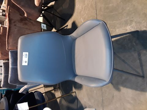 Lot 49 DESIGNER GREY FAUX LEATHER UPHOLSTERED SINGKE DINING CHAIR