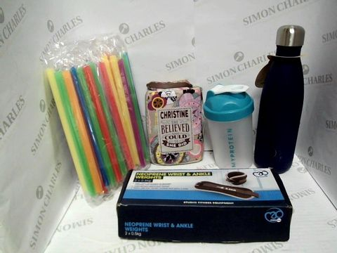 Lot 7352 LARGE BOX FULL OF MIXED HOUSEHOLD ITEMS TO INCLUDE: MY PROTEIN CUP, WATER BOTTLE, NEOPRENE WRIST & ANKLE WEIGHTS, PACK OF STRAWS, ETC