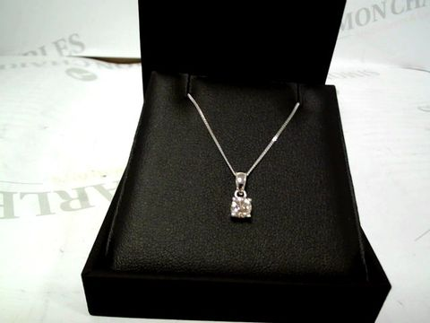 Lot 9048 LOVE DIAMOND 9CT WHITE GOLD 50 POINT DIAMOND SOLITAIRE PENDANT RRP £1099.99