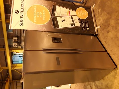 Lot 7080 HISENCE SILVER AMERICAN STYLE FRIDGE FREEZER WITH WATER DISPENCER Model RS741N4WC11