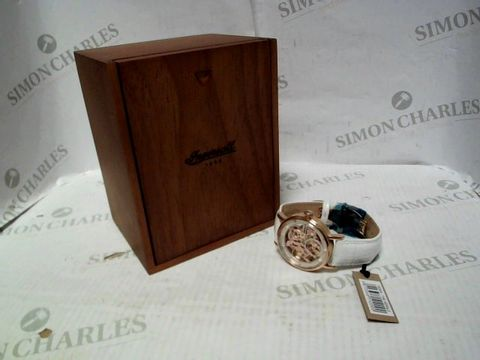 Lot 4359 INGERSOLL 1892 THE HERALD WHITE AND ROSE GOLD SKELETON DIAL WHITE LEATHER STRAP LADIES WATCH RRP £579.00