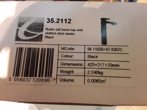 Lot 10664 BOXED CALYPSO RIALTO TALL BASIN TAP & SLOTTED CLICK WASTE BLACK