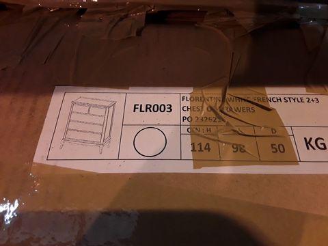Lot 4040 BOXED DESIGNER WHITE FLORENTIN FRENCH STYLE 2+3 DRAWER CHEST