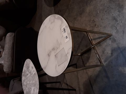 Lot 60 DESIGNER CIRCULAR WHITE MARBLE EFFECT GLASS TOP SIDE TABLE