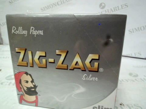 Lot 12874 BOX OF 50 ZIG-ZAG SILVER SLIM ROLLING PAPER BOOKLETS