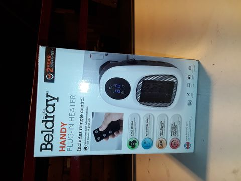 Lot 3216 BELDRAY HANDY PLUG-IN HEATER WITH REMOTE CONTROL