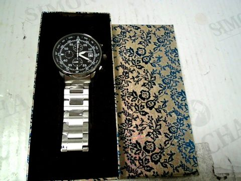Lot 74 DESIGNER METAL STRAP, BLACK DIAL CHRONOGRAPH STYLE WRISWATCH