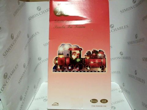 Lot 7327 CHRISTMAS GLITTERING SILHOUETTE SANTA IN TRAIN LIGHT