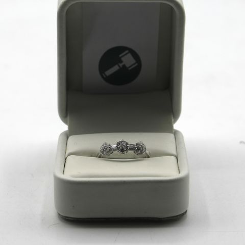 Lot 14 DESIGNER 18ct WHITE GOLD DIAMOND SET FLORAL RING