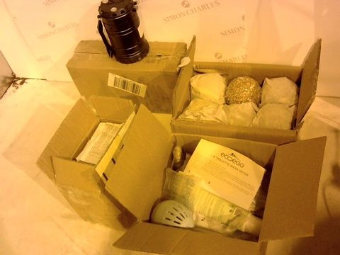 Lot 2375 4 ITEMS TO INCLUDE: 3 X LED LANTERNS, CHRISTMAS TREE BAUBLES, ECO-EGG