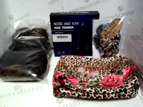 Lot 8022 LOT OF APPROXIMATELY 10 ASSORTED COSMETIC ITEMS, TO INCLUDE ESTEE LAUDER MAKEUP BAG, DREAM BEAUTY WIG, HAIR TRIMMER, ETC