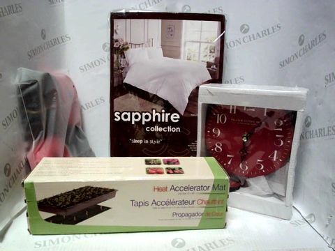 Lot 7645 LOT OF APPROXIMATELY 20 ASSORTED HOUSEHOLD ITEMS, TO INCLUDE SAPPHIRE KING SIZE GREY DUVET SET, RIO DIRECT RESISTANCE BANDS, GARDENING HEAT ACCELERATOR MAT, ETC