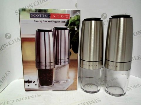 Lot 7330 SCOTTS OF STOW GRAVITY SALT AND PEPPER MILLS