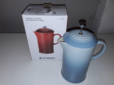 Lot 4194 LE CREUSET 1L STONES ARE COFFEE PRESS - BLUE