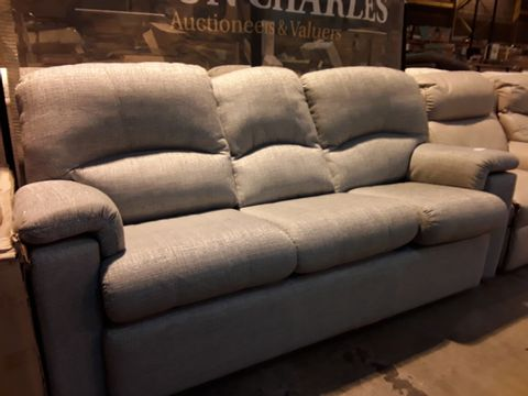 Lot 610 QUALITY BRITISH MANUFACTURED HARDWOOD FRAMED GREY FABRIC FIXED THREE SEATER SOFA