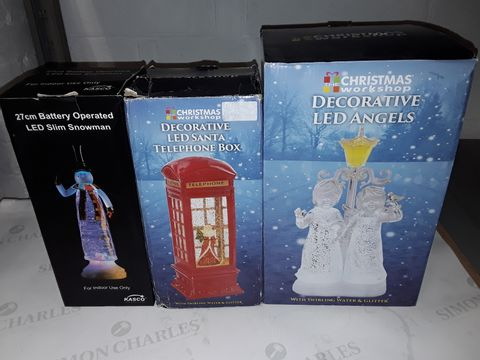 Lot 8459 LOT OF 3 ASSORTED LED CHRISTMAS DECORATIONS