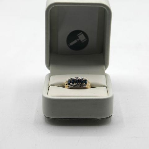 Lot 22 DESIGNER 9ct SAPPHIRE & DIAMONDS HALF ETERNITY RING WEIGHT +- 1.27ct
