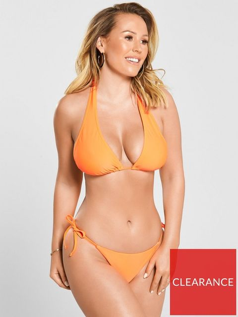 Lot 1898 BRAND NEW KATE WRIGHT MIX & MATCH NEON HALTER BIKINI TOP - ORANGE, SIZE 16