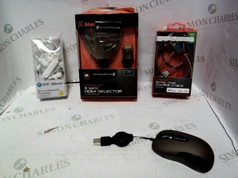 Lot 8130 LOT OF APPROXIMATELY 12 ASSORTED ELECTRICAL ITEMS, TO INCLUDE PHONE CHARGER, EARPHONES, HDMI SELECTOR, ETC